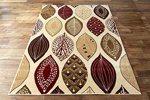 サヤンサヤン北欧風リーフ柄ラグマットモダンリーフ133x1901.5畳レッドベージュ