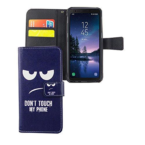 König Design Handyhülle Kompatibel mit Samsung Galaxy S8 Active Handytasche Schutzhülle Tasche Flip Hülle mit Kreditkartenfächern - Don't Touch My Phone Weiß Dunkelblau