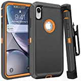 iPhone XR Case,FOGEEK Belt Clip Holster Heavy Duty Kickstand Protective Cover [Dust-Proof] [Shockproof] Compatible for Apple iPhone XR [6.1 inch] (Dark Grey/Orange)