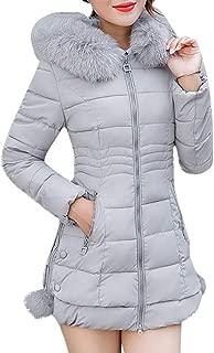 Lisingtool Women Hooded Outwear Warm Coat Long Thick Fur Collar Cotton Parka Slim Jacket