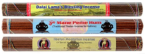 BUDDHAFIGUREN Conjunto de incienso tibetano de 3 Dalai Lama Bendición Incienso y meditación tibetana Incesne y Om Mani Padme Hum Incienso con dorje y bolsa