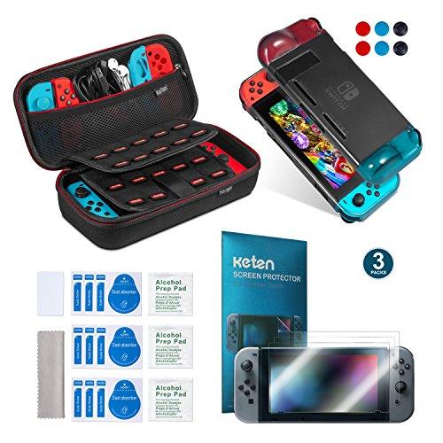 Keten kit de accesorios 11 en 1 para Nintendo Switch, incluye una funda de transporte para Nintendo Switch / Funda negro/ Protector de pantalla HD (3 paquetes)