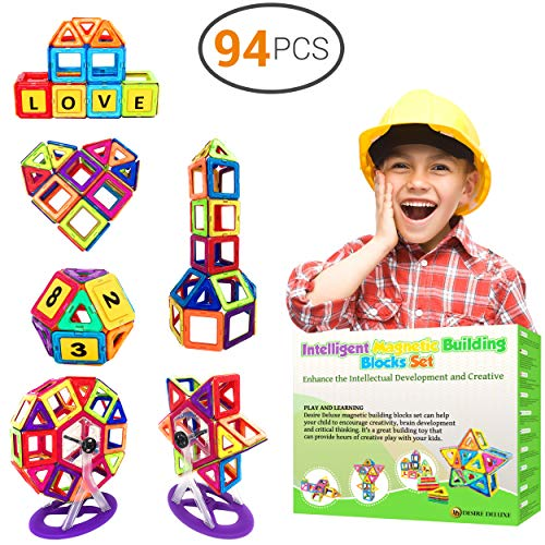 Desire Deluxe Magnetic Building Blocks Gift Desire Deluxe 94PC Kids Magnetics Construction Block Games for Boys and Girls Creativity Educational Children's Toys for Age 3 4 5 6 7 Year Old