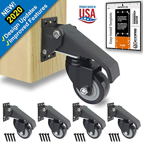 Premium Caster Wheels for Workbench, Heavy Duty Locking Casters Set of 4 (420lb), Durable Retractable Steel Swivel Wheel Casters, Castor Wheels, Castors, Caster Legs