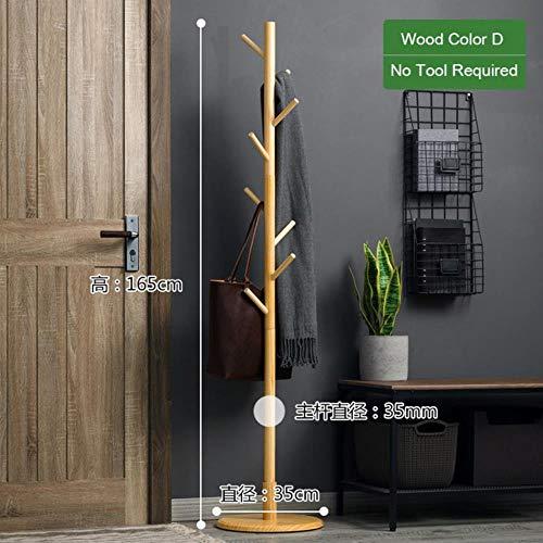 QWH Solid Wood Coat Rack Floor 8-Hook Clothes Hanger Bedroom Clothing Hat Display Stand Creative Home Furniture,Wood C