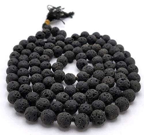 NewAgeHealings Collar de piedra de lava (anudado) – Collar de piedras preciosas Mala | Cuentas de oración de piedras preciosas Japa Mala (collar de 108 cuentas Mala)