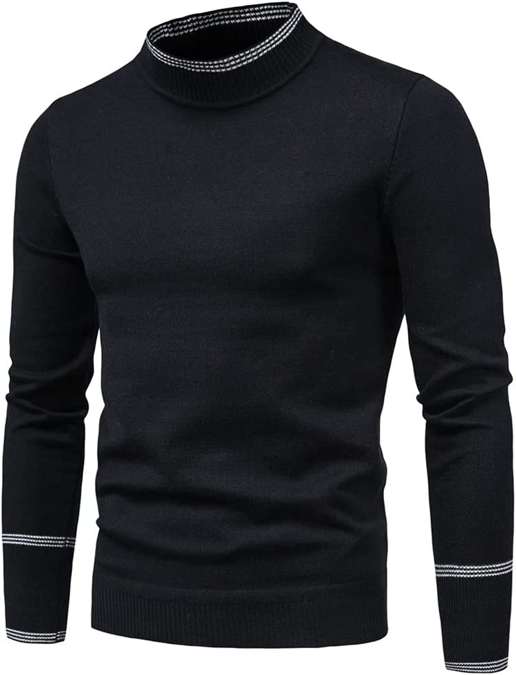 AAKKY Men's Sweater Pure Color Knitting Pullover for Male Long Sleeves Semi-high Neck Casual Winter Sweaters (Color : Black, Size : M Code)