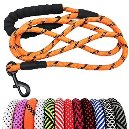 "MayPaw Heavy Duty Rope Dog Leash 6Ft, 1/2"" Thick Nylon Pet Training Leash, Soft Padded Handle Lead Leash for Large Medium Dogs"