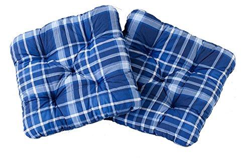Ambientehome 2er Set Sitzkissen Sessel Evje, kariert blau, ca 50 x 50 x 8 cm, Polsterauflage