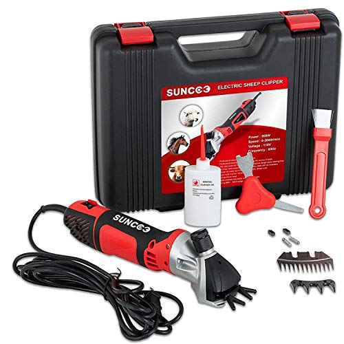 SUNCOO 500W Sheep Shears Portable Electric Clippers Heavy Duty Professional Grooming Shearing Trimmer 110V for Goat Llama Horse and Other Farm Livestock Furry Pet with Carrying Case (Red)