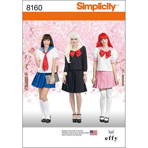 Simplicity Muster 8160Effy Näht Cosplay Kostüm Schnittmuster Schnittmuster, weiß, Größe R5