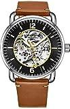 Stuhrling Original Skelett-Uhren für Herren – Herren-Automatikuhr mit Selbstaufzug – Herren-Leder-Armbanduhr für Herren braun