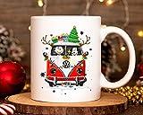 Lplpol Snoopy and Charlie Brown in Hippie Car Tazza di Natale divertente Disney Lover Christmas Tazza da caffè in ceramica, regalo per uomini e donne, 325 ml