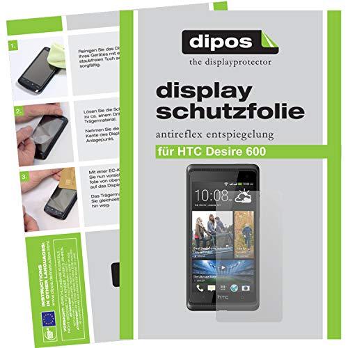 dipos I 2X Schutzfolie matt kompatibel mit HTC Desire 600 Folie Displayschutzfolie