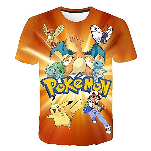 3D Pikachu - Camiseta de verano para niño, informal, manga corta, unisex, estampado 3D, anime, cosplay, deporte, P8., 160
