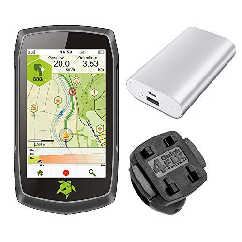 TEASI ONE4 - Fahrrad- & Wandernavigation + Fahrradhalter Lenkerbefestigung + USB Netzteil + Schutzfolie + optionales Zubehör (Teasi one4 + MTB Fahrradhalter, Powerbank)
