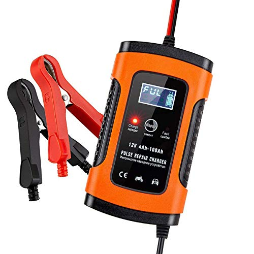 Autobatterie 12V 4A Ladegerät mit LCD-Bildschirm Akku Ladegerät & Maintainer 12V 5A Vollautomatische Auto-Ladegerät für Autos, Motorräder, Boot und mehr, Rettung und Wiederherstellung Batterien