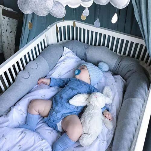 Funihut Bettumrandung Babybett Länge 185cm Baby Nestchen Bettumrandung Weben Geflochtene Stoßfänger Dekoration für Krippe Kinderbett Grau