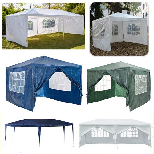 3x6m Gazebo With Removable Sides Walls Tent Waterproof Heavy Duty Awning Canopy Rustproof Iron Frame PE Cover For Outdoor Garden Party Festival Wedding(White)