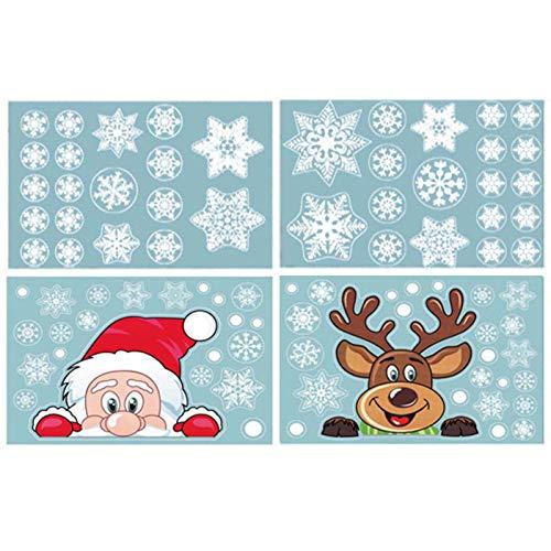Wendao 4 pegatinas de pared de elementos navideños de doble cara con estampado electrostático de Navidad para decoración del hogar