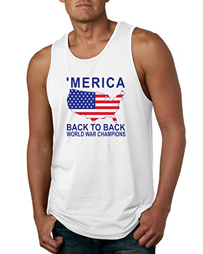 Back to Back World War Champs | Merica | Mens Americana/American Pride Graphic Tank Top, White, Large