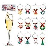 12 piezas Encantos de Copa de Vino de Navidad Bebidas Markes Etiquetas Lindas para Decorac...