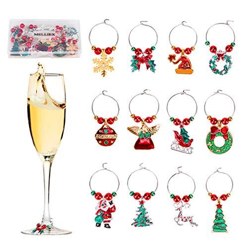 12 Stück Weinglas Charms Weihnachten Anhänger Weinglas Marker Tags für Weihnachtsfeier begünstigt Lieferungen Geschenk