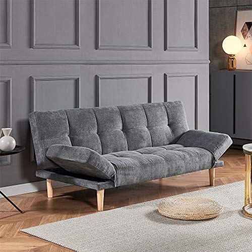 Huisenuk Living Room Sofa Bed 3 Seaters Velvet Fabric Solid Wood Legs for Corner Bedroom Lounge Office Waiting Room, 5FT Sofa Couch with Arms 2/3 Adult Usage (Grey)