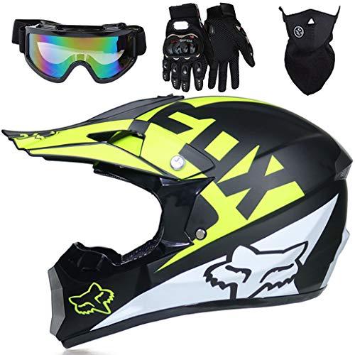 Aidasone Casco Motocross Niño de 5 a 16 Años, Homologado ECE R22.05 Casco de Moto de Downhill con Diseño Fox, Set de Cascos de Cross de MTB de Integral con Gafas/Máscara/Guantes, 4 Piezas, Negro,XL
