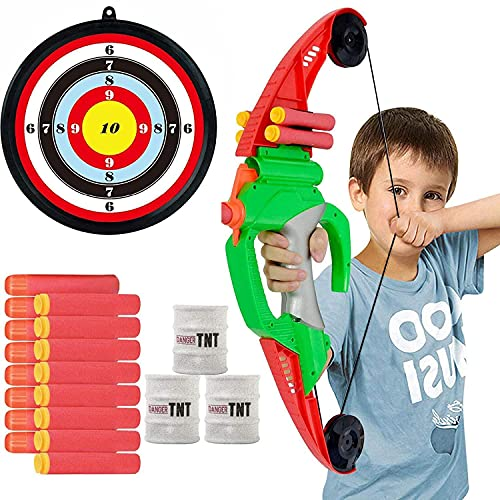 Archery Set Bow and Arrow for Kids - 18 inch Bow with Bullet Holder, 8 Foam Darts with Suction Cup, Target - Target Practice Shooting Games Indoor Outdoor Toys for 4+ Year Old Boys and Girls
