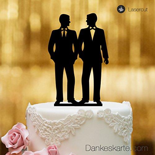 Dankeskarte.com Cake Topper Mr&Mr - Figura para decoración de tarta de bodas, cristal acrílico negro, tamaño XL, para decoración de tartas, Mr and Mr