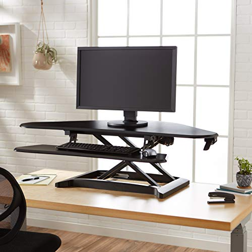 Amazon Basics Adjustable Standing Corner Desk Attachment for Computer Monitor and Keyboard, Black