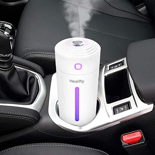 Healifty Mini Luftbefeuchter 280ML LED Auto USB Ultraschall Aroma Diffuser, 7 Farben LED Licht Humidifier für Car, Büro, Baby, Auto, Schlafzimmer, Ätherische Öle Leise(Weiß)