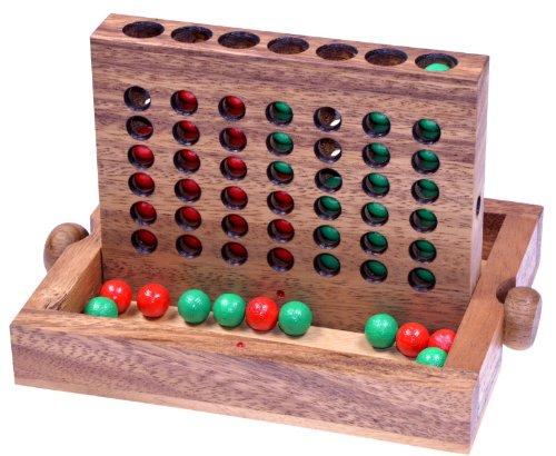 LOGOPLAY Vier in Einer Reihe Gr. L - Viererreihe - Bingo 4 - Strategiespiel - Denkspiel aus Holz mit farbigen Kugeln