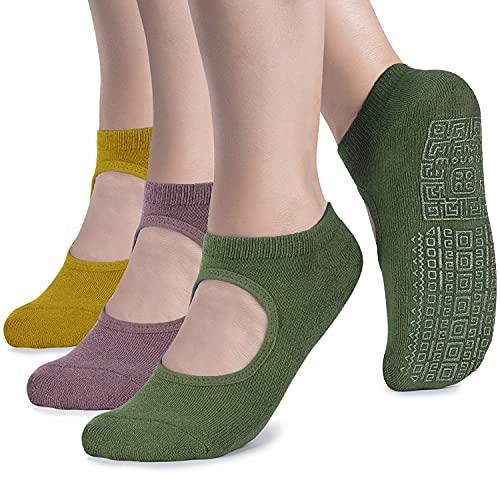 unenow Calcetines de yoga antideslizantes para mujer con cojín para pilates, barra, hogar, Talla única, 3 pares: amarillo/morado claro/verde