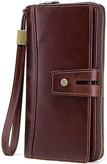 Men's Leather Wallet Zipper Wallet Long Hand Wallet Retro Wallet Candys house (Color : Brown, Size : 21 * 10 * 4cm)