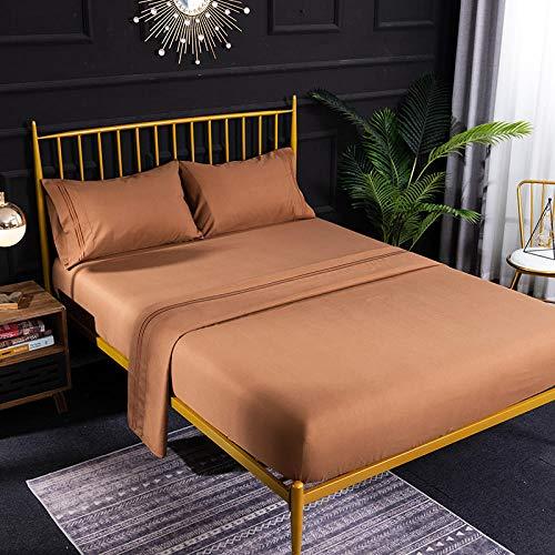 Bocotous Bett Laken,Bettwäsche Set Einzel Doppel Super King Size Bettlaken, einfarbig Flache Blatt Spannbetttuch Kissenbezug Bettwäsche braun 200 * 200 cm (4 Stücke)