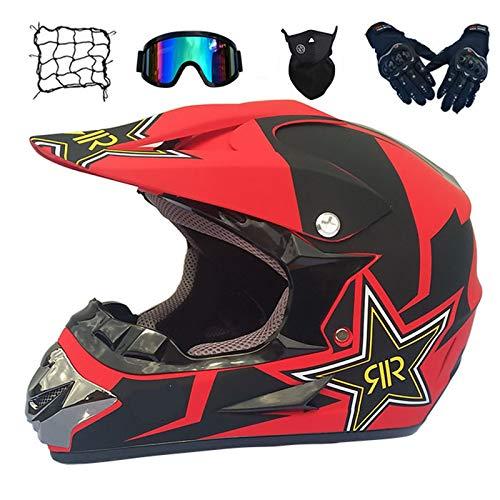 Casco de Descenso para jóvenes Adultos Regalos Gafas máscara Guantes Bolsillo Neto BMX MTB ATV Bicicleta Carrera Integral Integral Casco,E,L