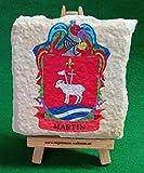 Escudo heraldico de apellidos impreso en piedra artificial.
