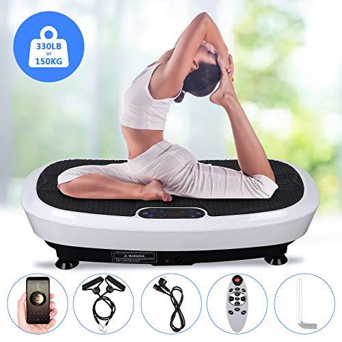EVOLAND Plateforme Vibrante Oscillante à 2 Moteurs 3D+180 Niveaux+5 Programmes,3 Zones de Vibration, Ecran Tactile avec Télécommande, Haut-parleurs Bluetooth, Appareil de Massage, 150KG Capacité