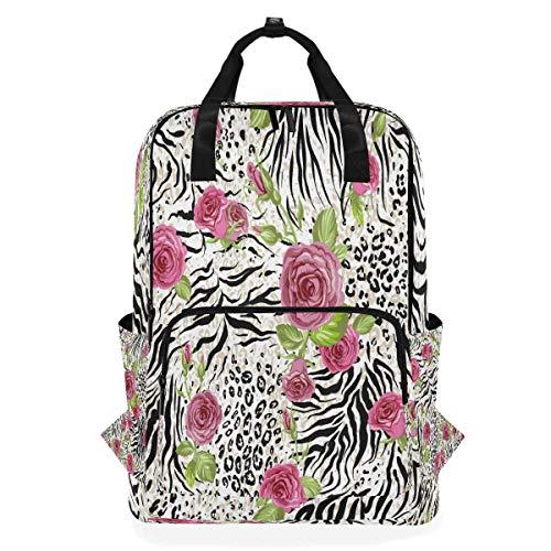 Flower Leopard Print Shoulder Backpack Student Lightweight Diaper Bag Travel for Kid Girls Boys