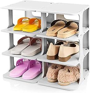 ZHJ 6 Organizador de Zapatos de Nivel Ajustable, Equipo de Zapato Plegable de Zapatos Ajustable Organizador de Zapatos (Gris) Zapateros y hormas para Zapatos