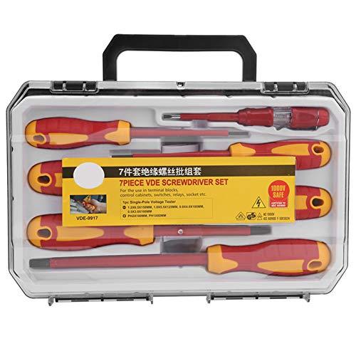 Juego de reparación de electricista con destornillador aislado de 1000 V, todo en uno, herramienta de mano con ranura cruzada plana profesional de 7 piezas