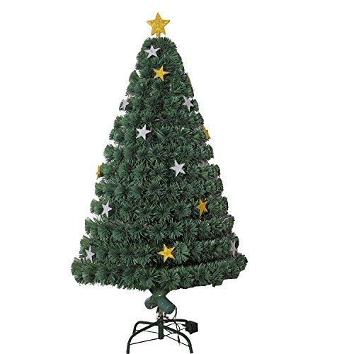 HOMCOM Árbol de Navidad Artificial Árboles de Abeto 180cm con Soporte Decoraciones Navideñas Copos de Estrella Fibra Óptica Brillante LED Multicolor Ignífugo