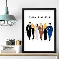 ホームデコレーションフレンズTVシリーズキャンバス絵画壁アートワークポスターモジュラー漫画写真ベッドサイドの背景45x60cm-フレームなし
