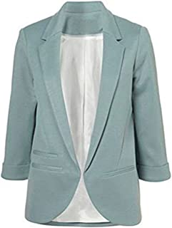 Women's Cotton Rolled up Sleeve No-Buckle Blazer Jacket Suits