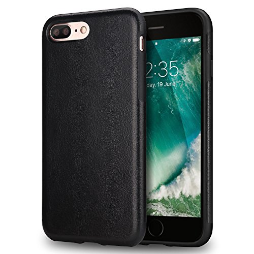 TENDLIN Cover iPhone 7 Plus Pelle Ibrida Silicone TPU Flessibile Custodia per iPhone 7 Plus e iPhone 8 Plus (Nero)