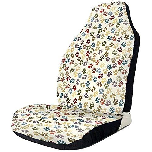 Fundas de asiento de coche coloridas huellas de huellas de la pata elástica del cubo de asiento de coche universal accesorios,