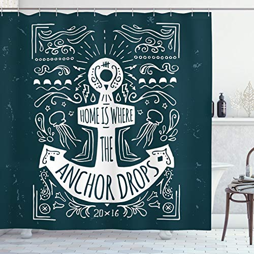 ABAKUHAUS Anker Duschvorhang, Hand Gezeichnet Hipster-Aufkleber, Waserdichter Stoff mit 12 Haken Set Dekorativer Farbfest Bakterie Resistet, 175 x 200 cm, Dunkelblau-weiß