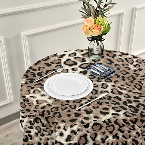 ALAZA Leopard Print Cheetah Animal 60 x 60 Inch Table Cloth for Round Tables with Elastic Tablecloth Anti Wrinkle Table Cover for Dining Kitchen Parties